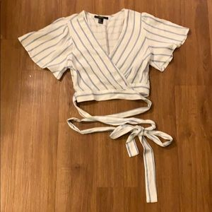Forever 21 Tie Up Striped Crop Top
